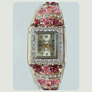 Jewelry - Pink Floral and Crystal Bangle Bracelet Watch